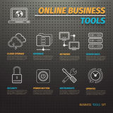 Online Business Tools on Dark Pegboard Stock Photography
