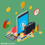 Online business vector concept. Online business flat isometric vector concept illustration Stock Photo