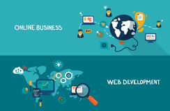 Online business and web development. Flat design concepts for online business and web development. Concepts for web banners and promotional materials Stock Photography