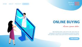 Online Buying Horizontal Banner. Doctor on Monitor. Online Buying Horizontal Banner with Copy Space. Young Woman with Long Hair Stand at Huge Computer Monitor stock illustration