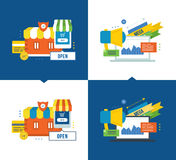 Online buying and secure payments, media, communications, promotions  discounts. Concept of illustration - online buying, mobile marketing and secure payments Royalty Free Stock Image