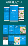 Online Cab Mobile App UI, UX and GUI Screens. Stock Image