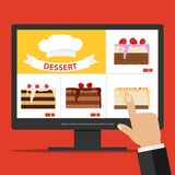 Online cake ordering via the Internet. Select a cake on the computer. Flat design,  illustration Stock Images