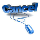 Online cancel in blue. Blue and white 3D illustration of the word cancel connected to a computer mouse Stock Photos