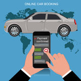Online car booking concept, vector illustration Royalty Free Stock Images