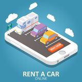 Online car rental vector isometric illustration. Online car rental concept vector isometric illustration. Smartphone with car, trailer, rent a car sign and rent Stock Photo