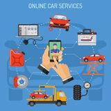 Online Car Service and Maintenance Concept. Man holding smart phone in hand and calls mechanic. Flat style icons diagnostics, tow truck, brake, accumulator Stock Images