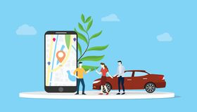 Online car sharing for city transportation with people and smartphone app maps location gps - vector. Illustration stock illustration