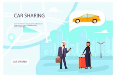 Online Car sharing service page website. Template. Arab family with a smartphone rent a car. Flat Art Vector illustration royalty free illustration