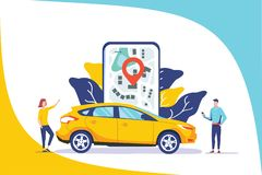 Online car sharing vector illustration concept, mobile city transportation with cartoon character and use smartphone stock illustration
