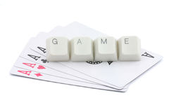 Online card games. Computer keys and cards, concept of online card games Royalty Free Stock Photography