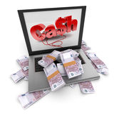 Online cash, Euros Stock Photo
