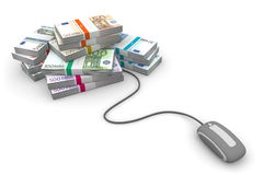 Online Cash - Grey Mouse and Euro Cash Packets. Grey computer mouse is connected to a big pile of euro banknotes Stock Photography