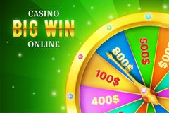 Online casino background with spinning retro game wheel vector illustration