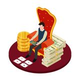 Online casino with banknotes, coins and man with tablet isometric vector illustration stock illustration