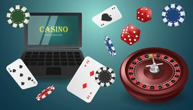 Online casino banner concept with laptop. Poker design or fortune casino gambling. Dice, chips, roulette, cards vector stock illustration