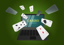 Online casino banner concept with laptop. Poker design or fortune casino gambling. Сards vector illustration. Green background royalty free illustration