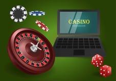 Online casino banner concept with laptop. Poker design or fortune casino gambling. Dice, chips, roulette vector illustration. stock illustration