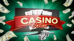 Online Casino Banner Vector. Realistic Computer Monitor. Winner Lucky Symbol. Jackpot Casino Billboard, Signage. Online Casino Vector. Banner With Computer Royalty Free Stock Photos