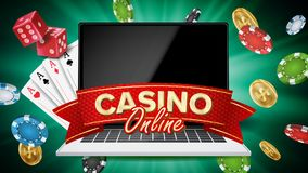 Online Casino Banner Vector. Realistic Laptop. Gambling Casino Banner Sign. Explosion Chips, Playing Dice. Illustration royalty free illustration