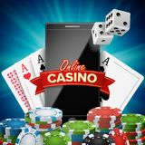 Online Casino Banner Vector. Realistic Smart Phone. Explosion Bright Chips, Playing Dice, Dollar Banknotes. Winner. Online Casino Vector. Banner With Mobile Royalty Free Stock Image