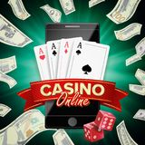 Online Casino Poster Vector. Modern Mobile Smart Phone Concept. Jackpot Casino Billboard, Signage, Marketing Luxury. Online Casino Banner Vector. Realistic Smart Stock Photos