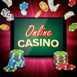Online Casino Banner Vector. Realistic Tablet. Flying Dollar Coins, Banknotes Explosion. Winner Concept. Jackpot. Online Casino Vector. Banner With Tablet Royalty Free Stock Image