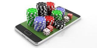 Poker chips and dice on a smartphone, isolated on white background. 3d illustration royalty free illustration
