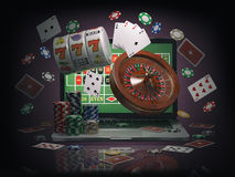 Free Online Casino Concept. Laptop With Roulette, Slot Machine, Casino Chips And Playing Cards Isolated On Black Background. Stock Photo - 93804820