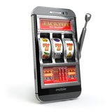 Online casino concept. Mobile phone and slot machine with jackpo Royalty Free Stock Photos