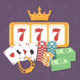 Online Casino Concept. With playing cards, slots 777 and chips. Poker and jackpot win, gambling game web, gamble play illustration royalty free illustration