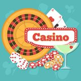 Online Casino Concept. With playing cards and chips. Poker and jackpot win, gambling game web, gamble play illustration royalty free illustration