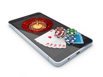 Online casino concept, playing cards, dice chips and smartphone 3d Illustration Stock Images