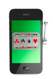 Online casino concept. Slot machine inside Mobile Phone Stock Photo