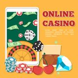 Online Casino Concept. Smartphone with playing cards and chips. Poker and jackpot win, gambling game web, gamble play illustration vector illustration