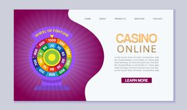 Online casino, internet gambling, wheel of fortune. Website homepage interface UI vector template. Landing web page with. Online casino, internet gambling, wheel stock illustration