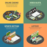 Online Casino 4 Isometric Icons royalty free illustration