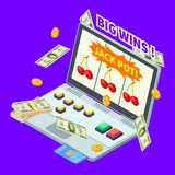 Online casino, jackpot win, banknotes, coins and credit card on laptop isometric vector illustration vector illustration
