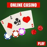 Online casino, the logo of the online casino with cards, chips and dice. Flat design, vector illustration, vector royalty free illustration