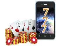 Online casino. phone and chips on a white background Stock Images