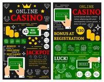 Online casino poker jackpot vector posters. Online casino or poker cards gamble game posters for jackpot gambling. Vector brochure thin line art design of online stock illustration