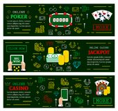 Online casino poker jackpot vector web banners. Online casino poker web banners for jackpot gambling. Vector thin line art design of dice, playing cards and win Vector Illustration