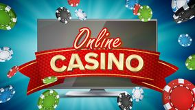 Online Casino Poster Vector. Modern Computer Monitor Concept. Jackpot Billboard, Marketing Luxury Illustration. Online Casino Banner Vector. Realistic Computer Royalty Free Stock Photo