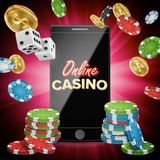 Online Casino Vector. Banner With Mobile Phone. Playing Dice, Dollar Coins. Winner Lucky Symbol. Illustration. Online Casino Poster Vector. Modern Mobile Smart Stock Images