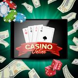 Online Casino Poster Vector. Modern Mobile Tablet Concept. Jackpot Advertising Concept Illustration. Online Casino Banner Vector. Realistic Tablet. Flying Stock Image