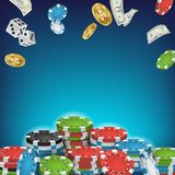 Online Casino Poster Vector. Poker Gambling Casino Sign. Bright Chips, Flying Dollar Coins, Banknotes Explosion. Winner. Concept. Jackpot Billboard Royalty Free Stock Photo