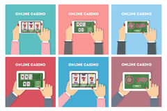 Online casino in tablet set. stock illustration