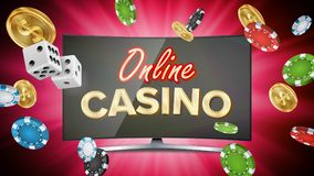 Online Casino Vector. Banner With Computer Monitor. Online Poker Gambling Casino Banner Sign. Bright Chips, Dollar Coins stock illustration