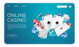 Online casino. Web landing page template for internet poker game. Vector illustration flying poker cards, chips game. Online casino. Web landing page template royalty free illustration