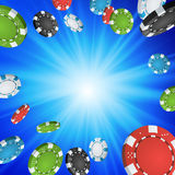 Online Casino Winner Background. Explosion Poker Chips Illustration. Cash Winning Prize Money Concept Illustration. Casino Winner Background. Falling Explosion Royalty Free Stock Photos